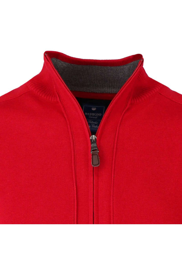 Redmond Cardigan mit Zipper, regular fit, 100% Baumwolle, rot