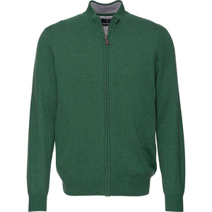 Redmond Cardigan mit Zipper, regular fit, 100% Baumwolle, grün