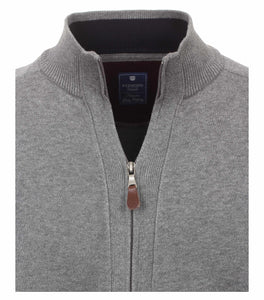 Redmond Cardigan mit Zipper, regular fit, 100% Baumwolle, hellgrau