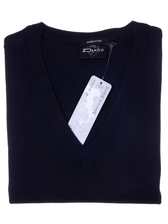 Danilo Pullover, regular fit, V-neck, merino blend, navy-blau