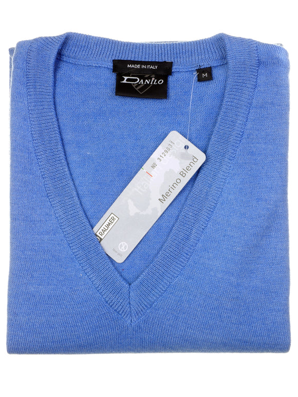 Danilo Pullover, regular fit, V-neck, merino blend, stahlblau