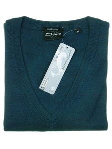 Danilo Pullover, regular fit, V-neck, merino blend, petrol
