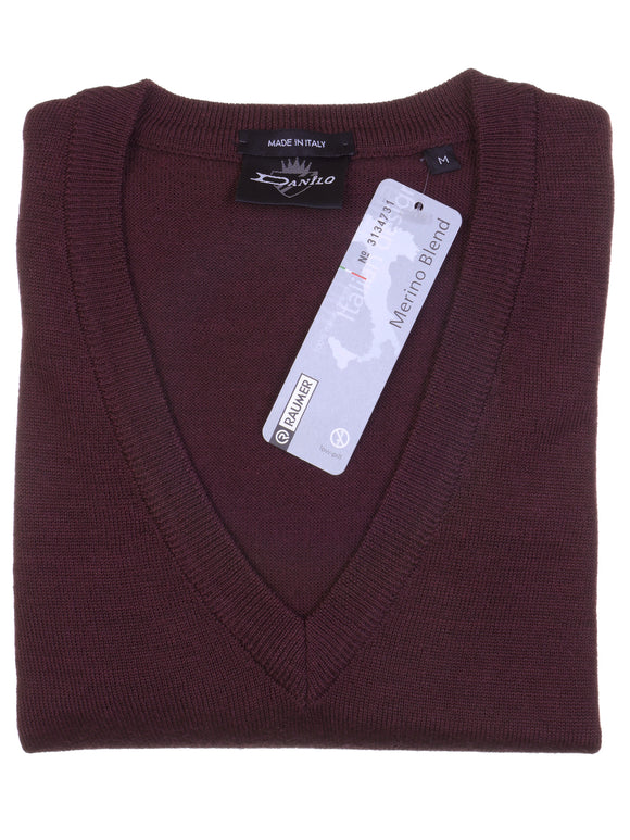 Danilo Pullover, regular fit, V-neck, merino blend, bordeaux