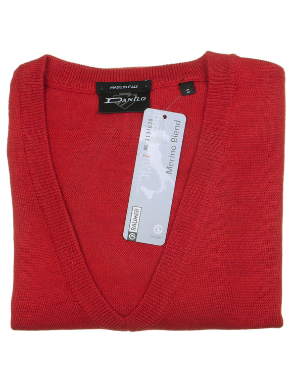 Danilo Pullover, regular fit, V-neck, merino blend, rot