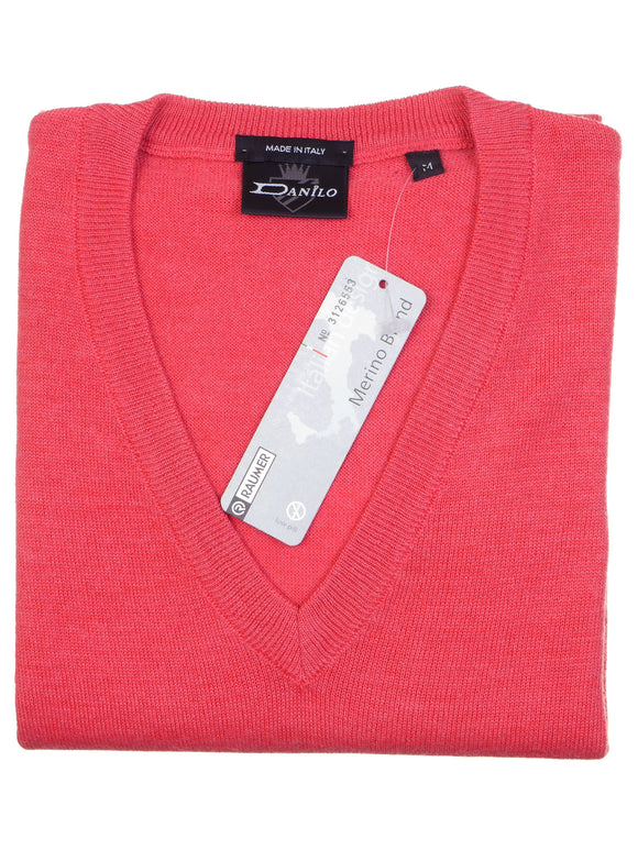 Danilo Pullover, regular fit, V-neck, merino blend, flamingorot