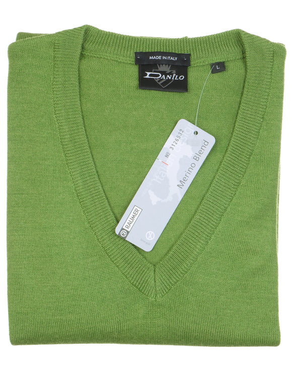 Danilo Pullover, regular fit, V-neck, merino blend, apfelgrün
