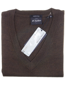 Danilo Pullover, regular fit, V-neck, merino blend, braun