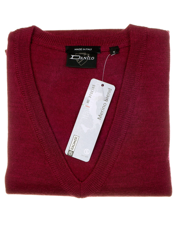 Danilo Pullover, regular fit, V-neck, merino blend, magenta