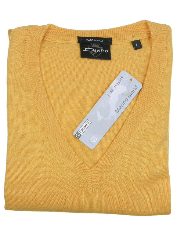 Danilo Pullover, regular fit, V-neck, merino blend, gelb
