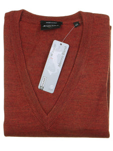 Danilo Pullover, regular fit, V-neck, merino blend, terracotta