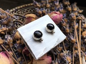 Sheen Obsidan Stud Earrings No.2