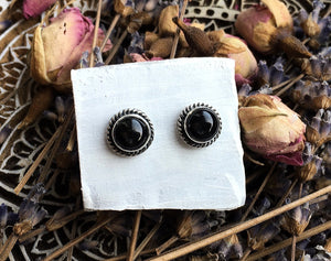 Sheen Obsidan Stud Earrings No.3