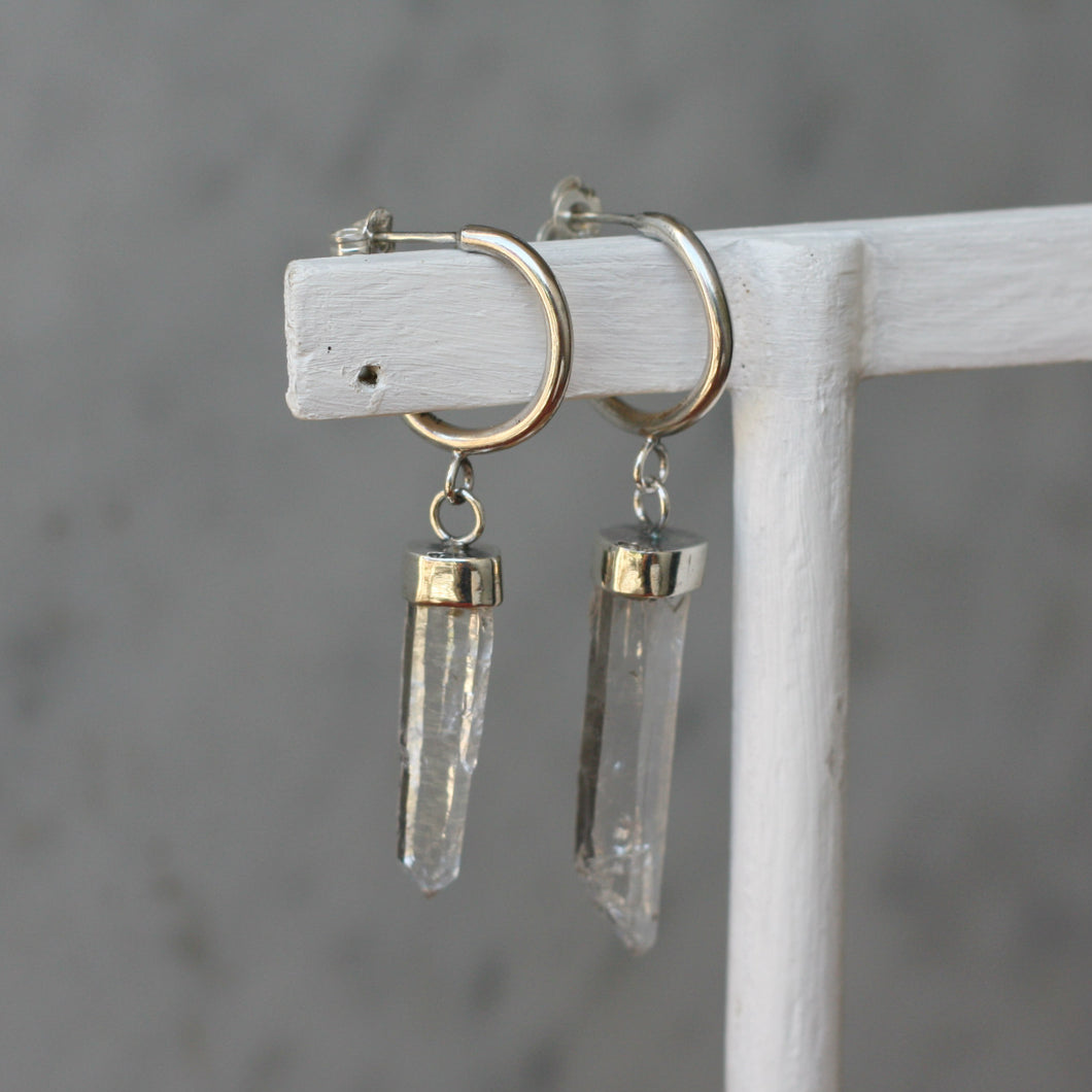 Crystal Hangers on Hoop Studs