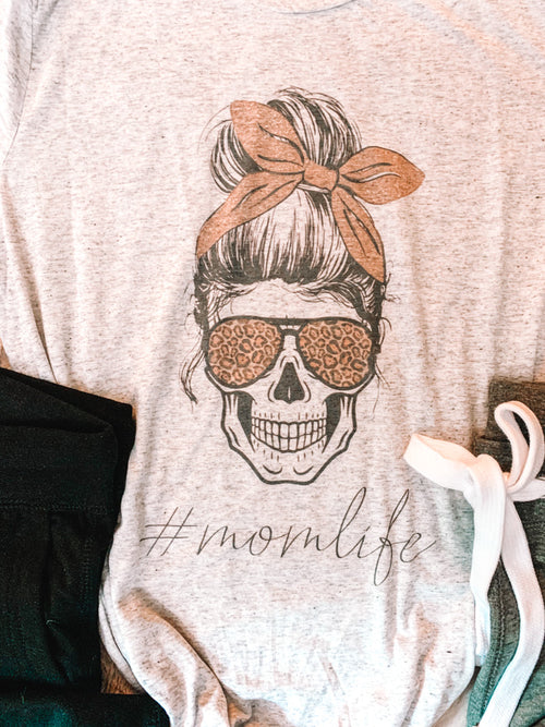 Mom Life Cool Skull Graphic Tee