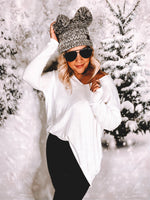 Slouchy V-Neck Sweater White