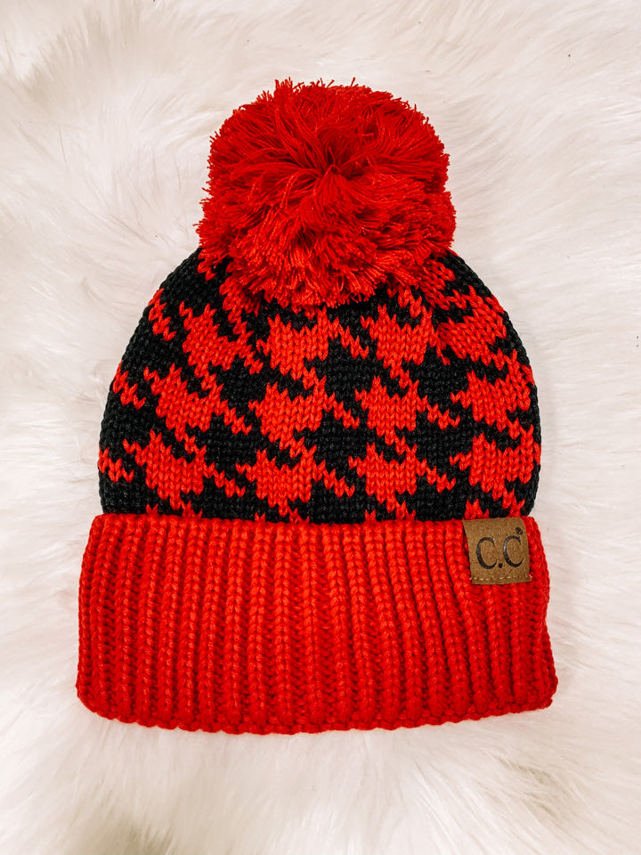 Beanie Plaid Red & Black with Pom Pom