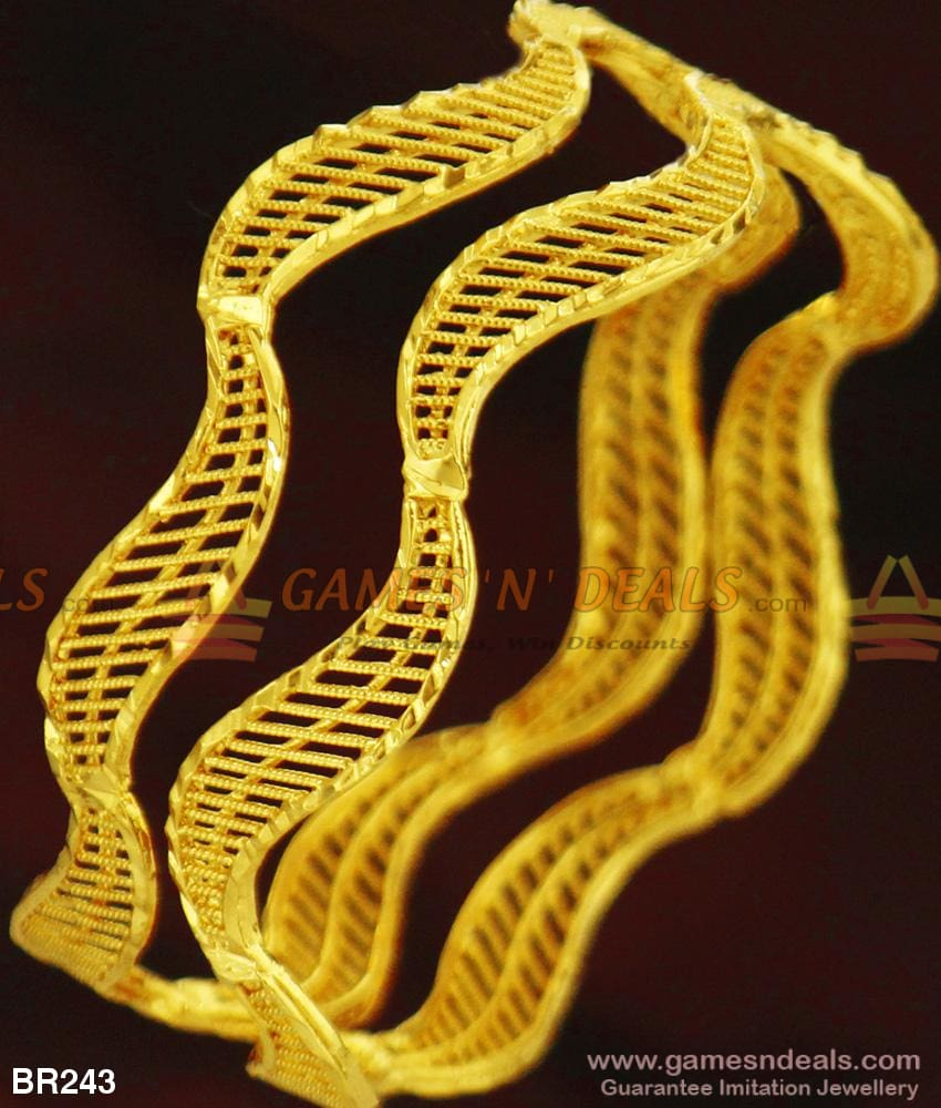 2020 Latest Design Curvy Gold Plain Bangles For Women Daily Use With Guarantee 2.4 Bangle