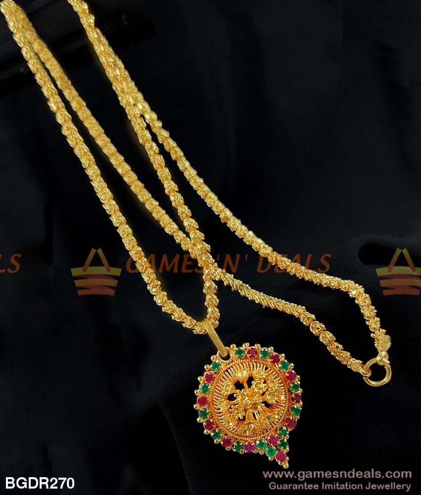 3D Pattern Flower Design Stone Dollar With Real Gold Chain For Women And Girls Buy Online 24 Inches