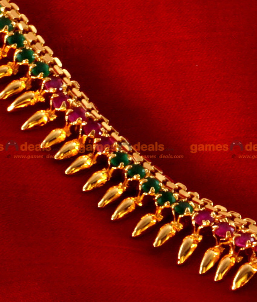 Ruby Stone MullaiPoo Haram Long Necklace for Women and Girls