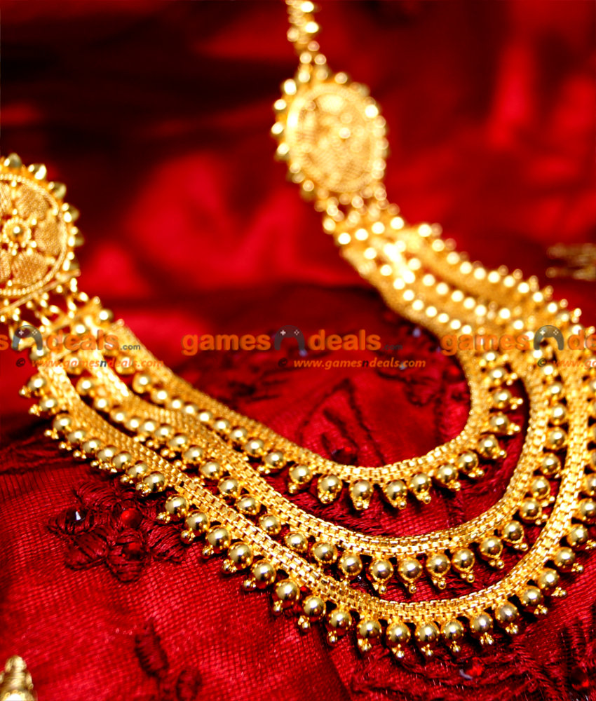 Real Gold Tone Kerala Three Line Haram For Women and Girls