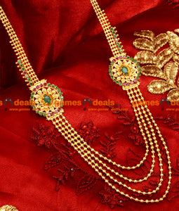Gold Plated Imitation Trendy Four Line Emerald Stone Short Haaram