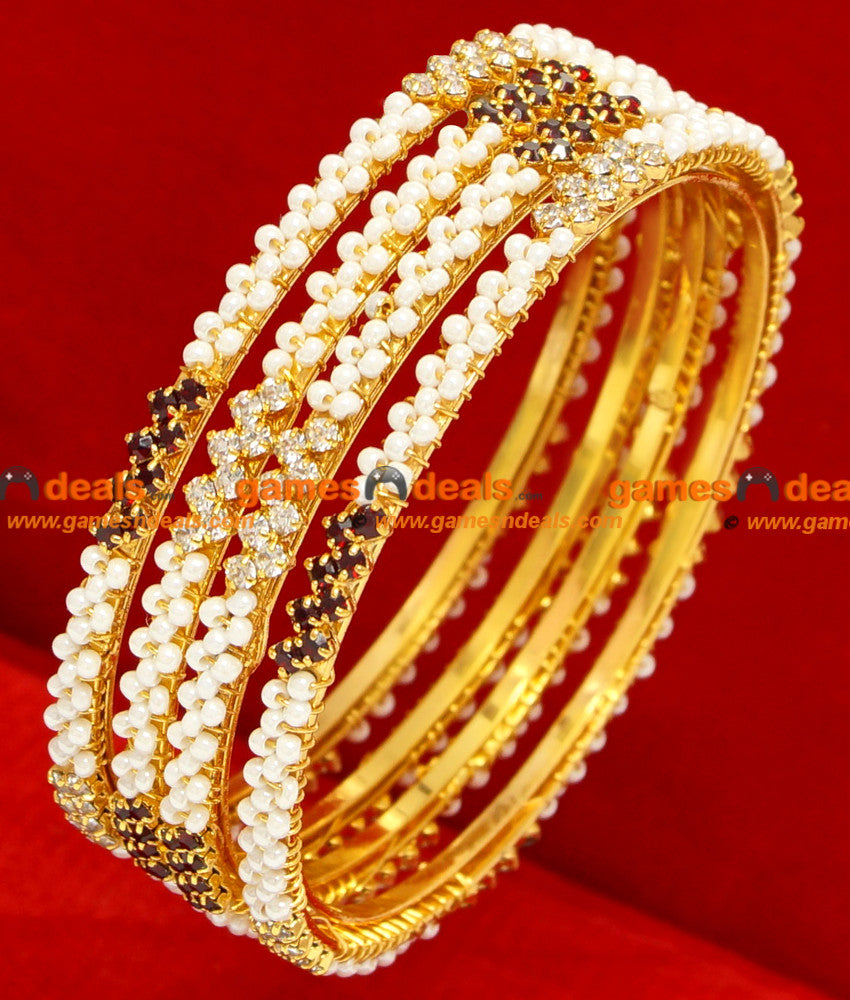 White Pearl Bangles for Marriage