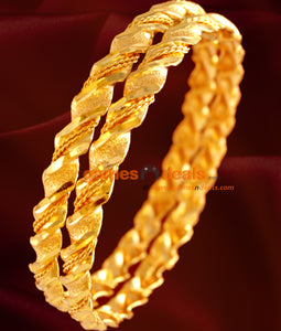 Gold Plated Twisted Spring Bangles