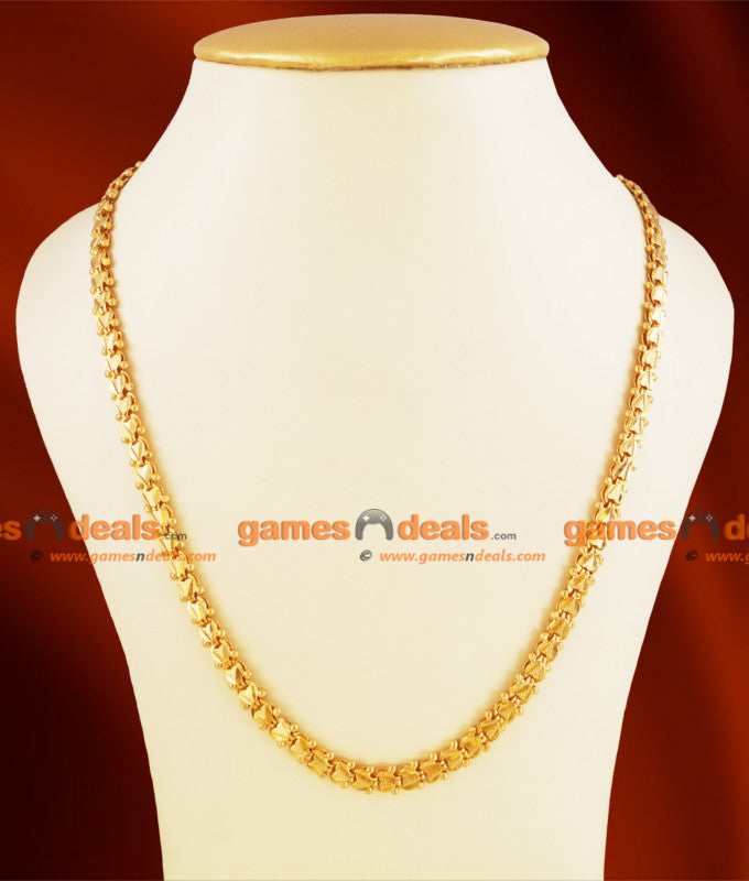 CHRT03 - Gold Plated Chain Heartin with Ball Thick Design