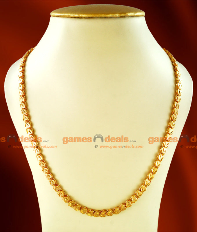 CHRT09 - Traditional Gold Plated Heartin V-Cut Chain