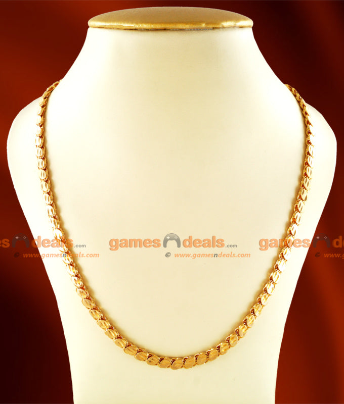 CHRT10 - Gold Plated Leaf cut Oval Design Thick Chain