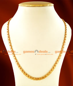 CHRT15 - Gold Plated Leaf Cut S-Plate Design Thick Chain