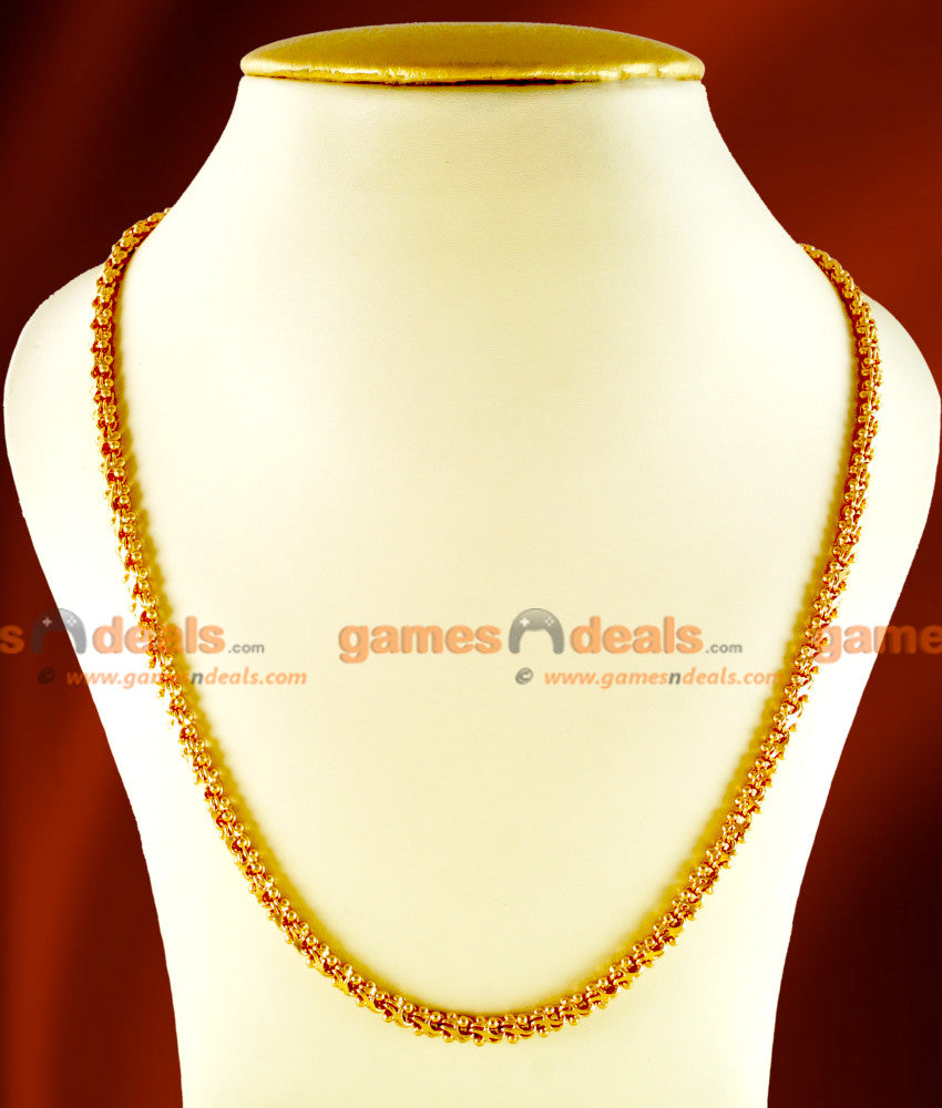 CHRT19 - Gold Plated Jewelry Kerala Sundari Ball Design South Indian Unique Rare Chain