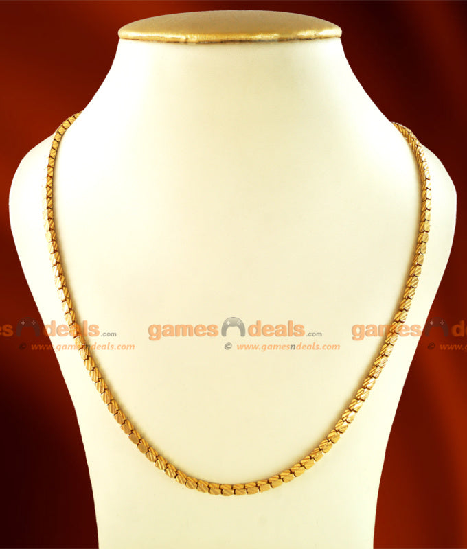 CJAY02 - Gold Plated Daily Wear Box Design Chain (24 inches)