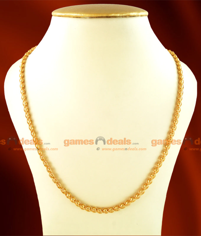 CKMN07 - Gold Plated Kerala Pure Mani Thick Chain