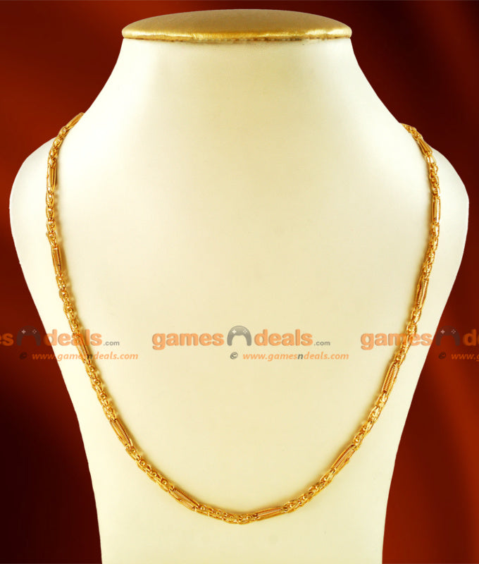 CKMN08 - Gold Plated Kerala Spring Design Thin Chain