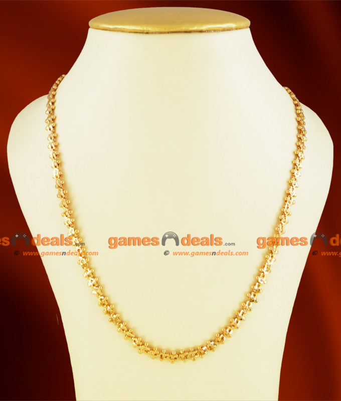 CKMN11 - Gold Plated Jewelry Beaded Petal Design Chain