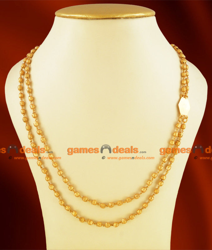 CKMN27 - Gold Plated Double Layer Rettavadam Design Guarantee Chain