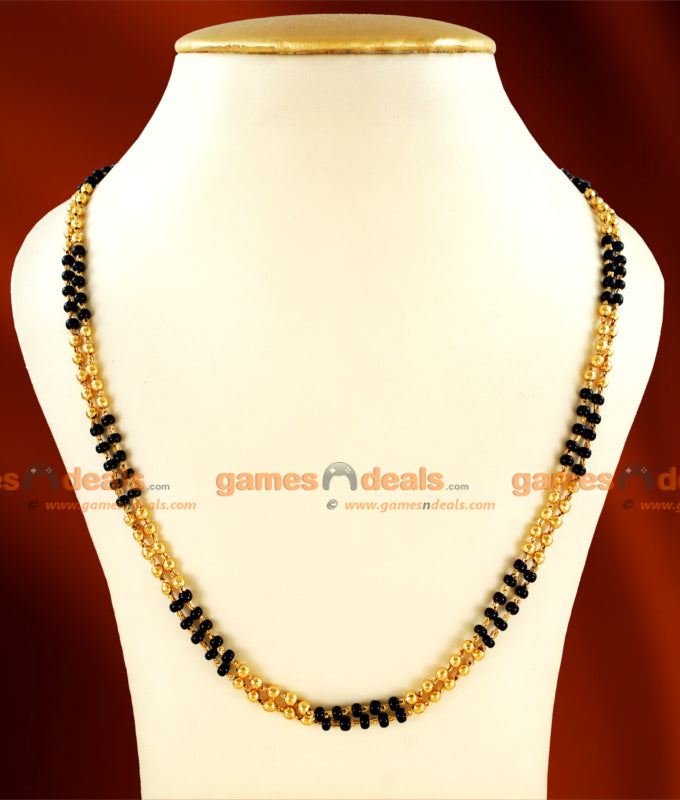 CKMN21 - 24 inches Gold Plated Mangalsutra two Line Thread (Karugamani Chain)