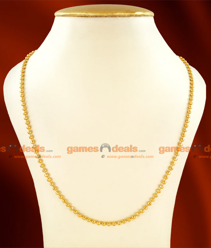 CKMN22 - 24 inches Gold Plated Kerala Gold Beads Imitation Chain Mani Malai