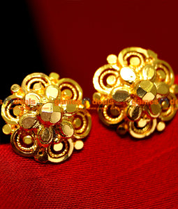 ER004 - Gold Plated Traditional Ear Rings Stud Type Daily Wear Design