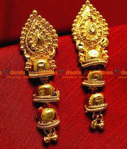 ER007 - Unique Gold Plated Ear Rings Long Hanging Type Party Wear Temple Jewel Design