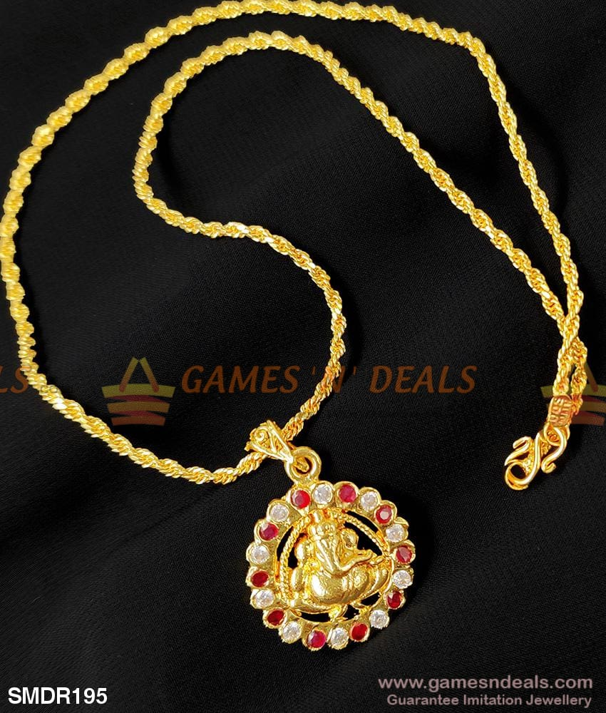 Ad Stone Vinayagar Dollar One Gram Gold Pendant For Girls And Ladies Buy Online 18 Inches