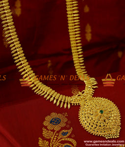 AD Stone Dollar Kerala Mullai Poo Net Design Chain Long Necklace for Women