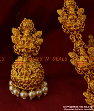 Heavy Matt Finish Lashmi Design with Pearls Antique Temple Jewelry Online