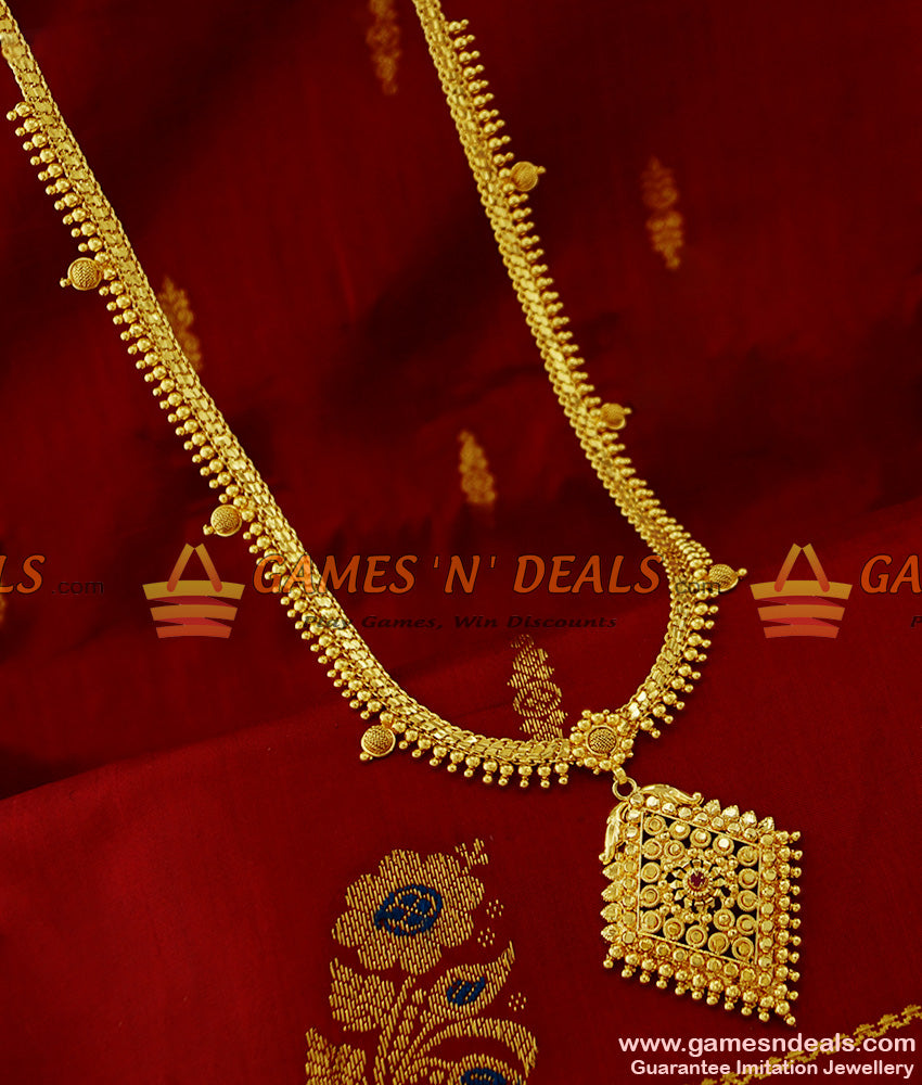 Simple Dollar Long Beaded Necklace Kerala Jewelry Online for Women and Girls