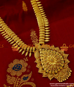 Plain Dollar Kerala Mullaipoo Design Heavy and Long Necklace for Women