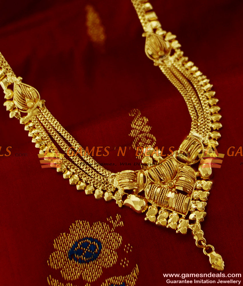 Gold Jewel Like Three Line Calcutta Design Haram Imitation Jewelry Online