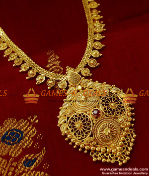 Hand Crafted Party Wear Red Stone Haram Online Imitation Jewelery Online