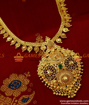 Hand Crafted Party Wear Green Stone Haram Online Imitation Jewelery Online