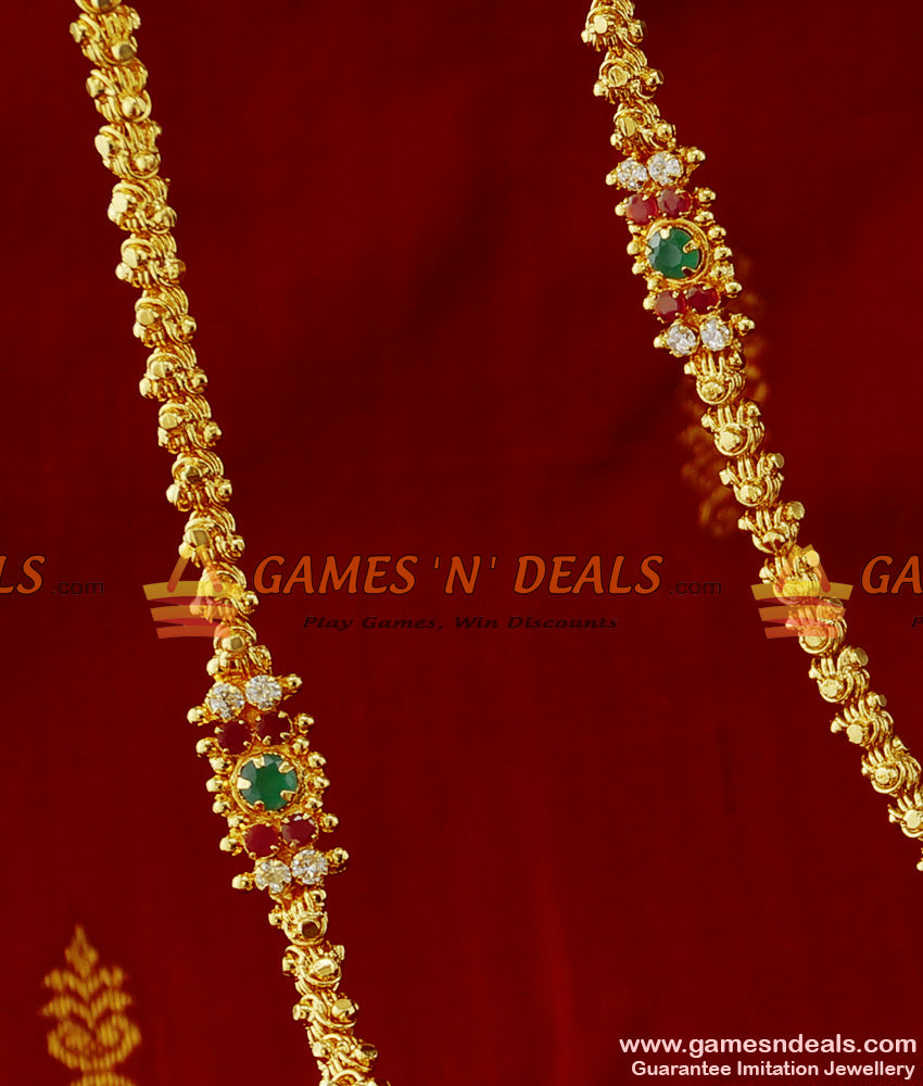 South Indian AD Stone Mogappu and Dollar Kerala Jasmine Chain Online